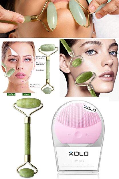 Xolo Şarj Edilebilir Pembe Yüz Temizleme Cihazı + Jade Roller 2'li Yeşim Taşı Masaj Aleti