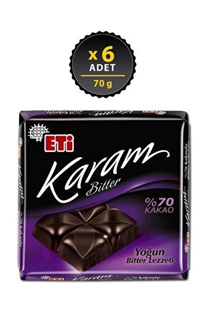 Eti Karam %70 Kakaolu Bitter Çikolata 70 g x 6 Adet