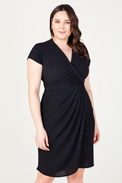 MI Kadın Siyah Kuruvaze Pileli Elbise 20Y.MI.ELB.71028.01