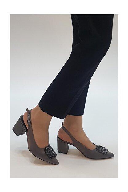 sothe shoes Gri Saten Kadın Tokalı Topuklu Ayakkabı Stiletto Kalın Kısa Topuk Kadın Ayakkabı