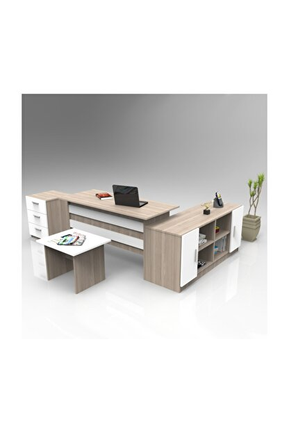 Robin Home Verona Abcf Ofis Büro Masa Takımı Meşe-beyaz