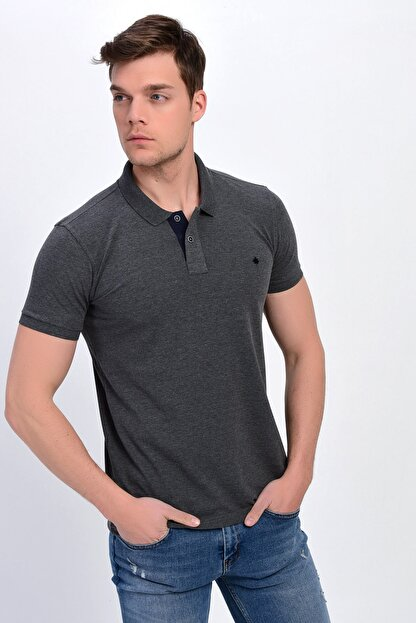 Dynamo Erkek Antrasit Polo Yaka Likralı T-shirt T621