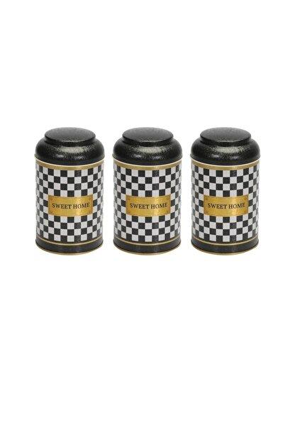 Evle Checkers Black Üçlü Metal Saklama Kabı Seti