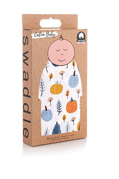 Caline Baby Müslin Bezi Örtü Bal Kabağı Desen - Mavi 120x120 Cm + 4 Adet Ağız Mendili