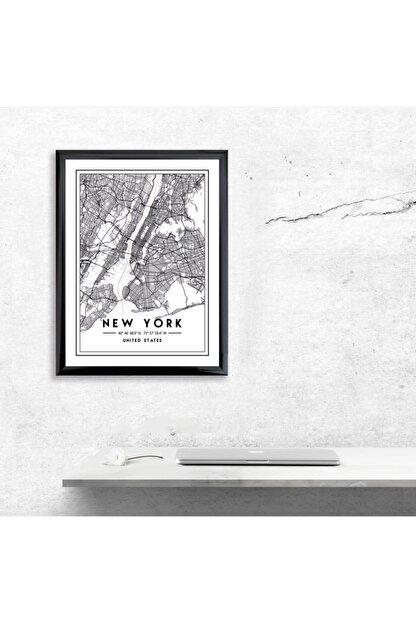 MAPFA Çerçeveli New York Harita Poster Siyah-Çizgisel