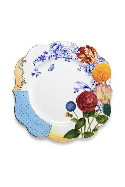 Pip Studio Royal Beyaz / Mavi Çiçek Desenli Yemek Tabağı 28 cm