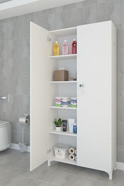 Kenzlife Mutfak Dolabı Çilem 188*090*032 Byz Kilitli Ayaklı Banyo Evrak Ofis Ayakkabılık Kiler