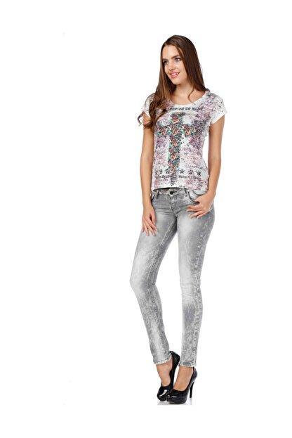 Cipo&Baxx C46006 Içiçe Cep Detaylı Gri Bayan Dar Kot Pantolon