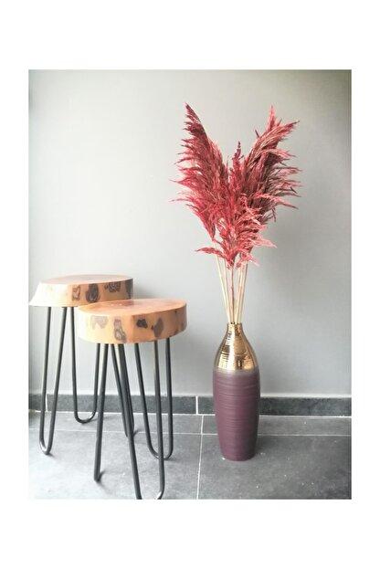 Kuru Çiçek Deposu Gerçek Kuru Çiçek Dökülmeyen Büyük Kırmızı Pampas Demeti 100 Cm 7 Adet