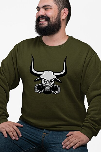 Angemiel Wear Gaz Maskeli Boğa Yeşil Erkek Sweatshirt