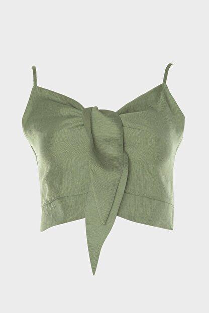 TRENDYOLMİLLA Yeşil Crop Bluz TWOSS20BZ1006