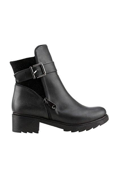 Ayakland Siyah Günlük 4cm Topuk Fermuarlı Bayan Cilt Bot Ayakkabı 3883-823