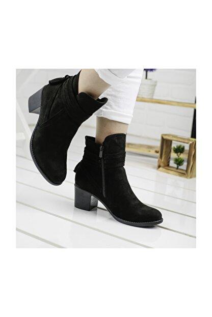 Ayakland 8422-832 Siyah 6cm Topuk Bayan Süet Bot Ayakkabı