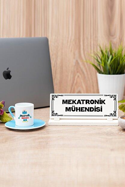 Hediyedukkani Mekatronik Mühendisi Mavi Türk Kahvesi Fincanı Ve Masa Isimliği Seti