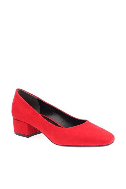 Dgn Kırmızı Süet Kadın Topuklu Ayakkabı 601-1609