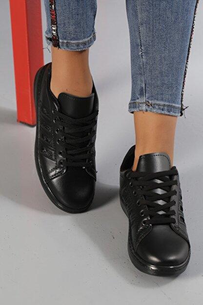 Ayakkabı Modası Siyah-Siyah Kadın Sneaker M4000-19-101001R