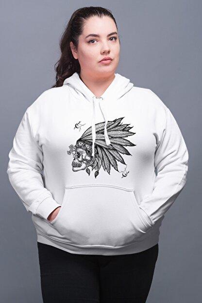 Angemiel Wear Kızıldereli Şapkalı Beyaz Kadın Kapüşonlu Sweatshirt