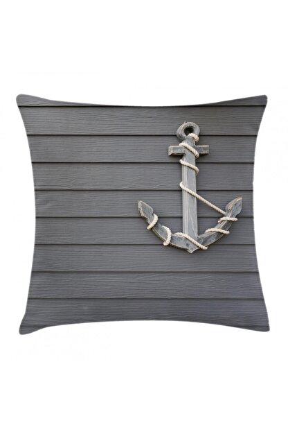 Orange Venue Denizci Minder Kılıfı Ahşap Çapa Desenli