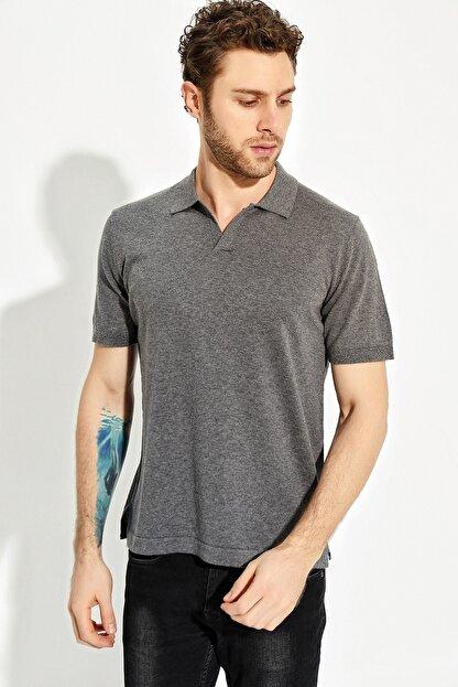 CHUBA Antrasit Erkek Polo Yaka Yırtmaçlı Sportriko T-shirt