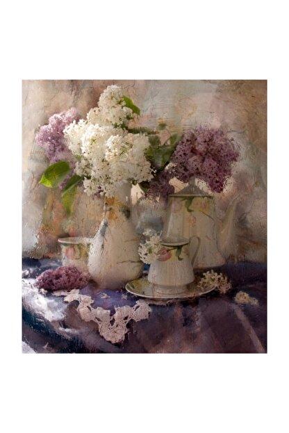 Tablosan Vazoda Çiçekler Fotoğraf Kanvas Tablo 90x120