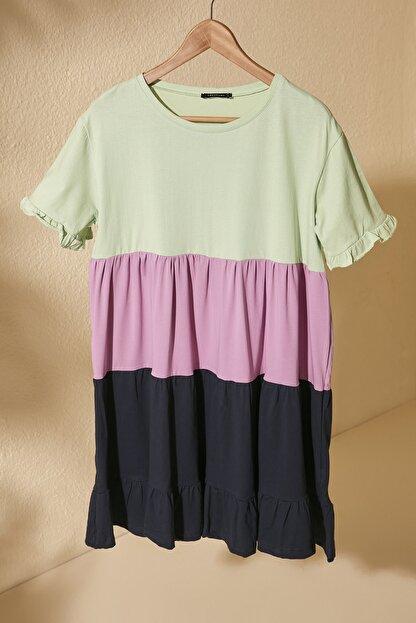 TRENDYOLMİLLA Mint Renk Bloklu Örme Elbise TWOSS20EL1638