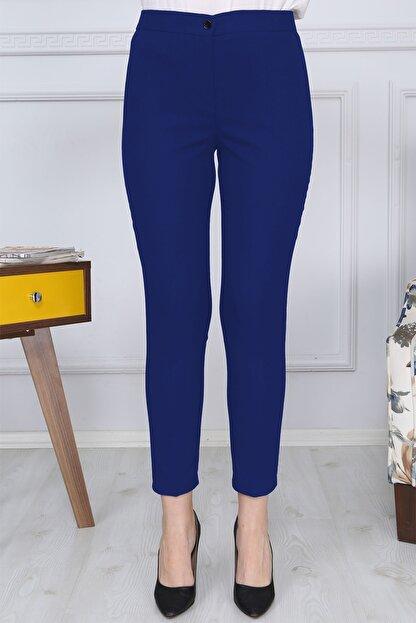 Gül Moda Saks Mavi Kemerli Dar Paça Kumaş Pantolon Likralı Cepsiz G011