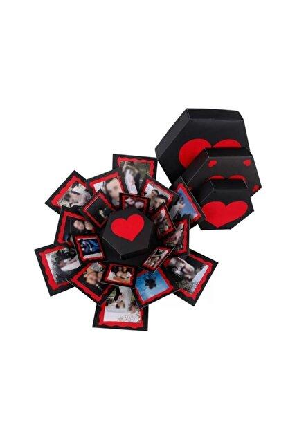 Evsay Patlayan Aşk Kutusu Altıgen Kalpli Içiçe 4'lü Kutu
