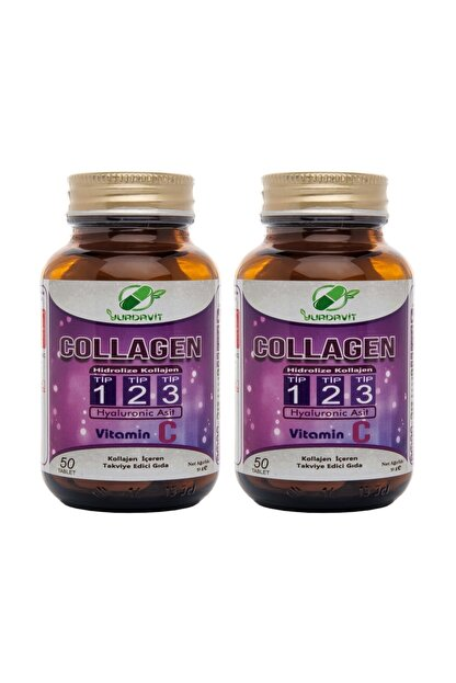 Yurdavit Hidrolize Collagen (kolajen) Type (tip) 1-2-3 Hyaluronic Acid Vitamin C 50 Tablet 2 Kutu