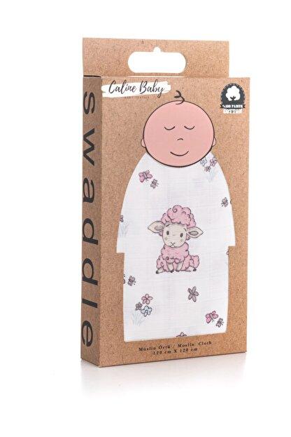 Caline Baby Müslin Bezi Örtü Kuzu Desen - Pembe 120x120 Cm + 4 Adet Ağız Mendili