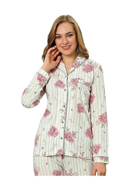 ALİMER Kadın Yazlık Uzun Kollu Önden Düğmeli Pijama Takımı Çiçek Desen