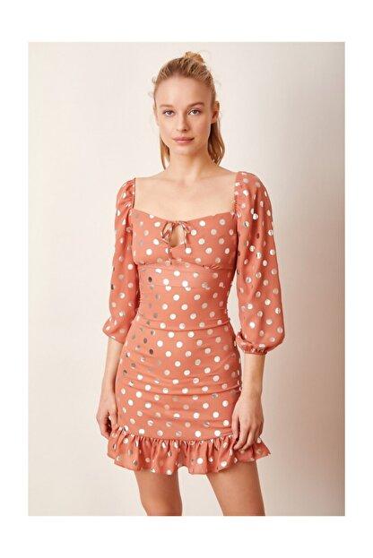 Never more Puantiyeli Mini Elbise Kiremit