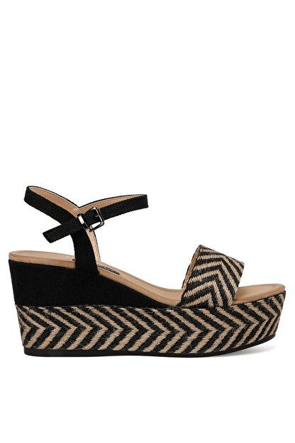 Nine West Norma Siyah Kadın Dolgu Topuklu Sandalet