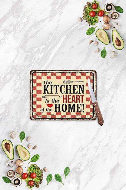 Decovetro My Kitchen Heart Görünümlü | Cam Kesme Tahtası - Kesim Tablası | 20 X 30 Cm