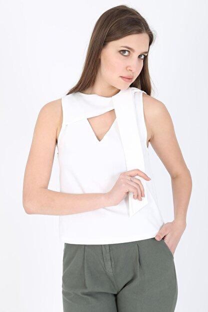 MODOMOR Kadın Dokuma Beyaz Bluz