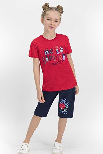 US Polo Assn Lisanslı Kırmızı Kız Çocuk Kapri Takım