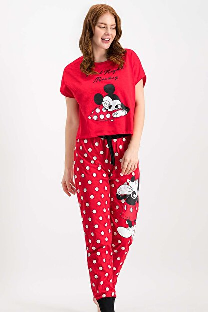 Mickey & Minnie Mouse Kadın Mickey Mouse Lisanslı Kırmızı Pijama Takımı
