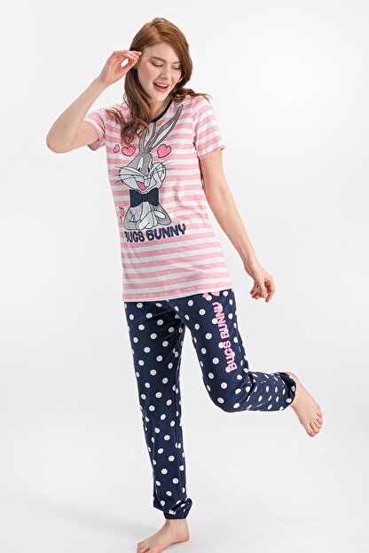 Lola & Bugs Bunny Kadın Bugs Bunny Lisanslı Şeker Pembe Pijama Takımı