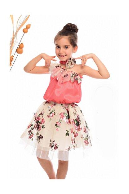 Hilal Akıncı Kids Kız Çocuk Tüle Varak Baskılı Tek Omuzlu Bandanalı 3lü Takım