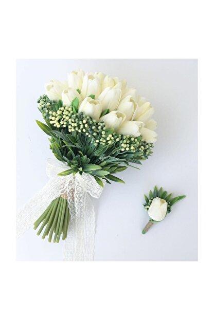 Evsay Gelin Buketi Islak Lale Gelin Eli Çiçeği Ve Damat Yaka Çiçeği