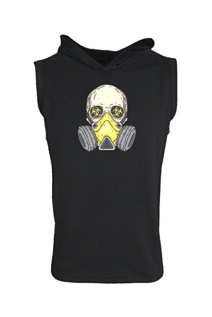 Raf Coll Baskılı Kapşonlu Kolsuz Siyah T-shirt