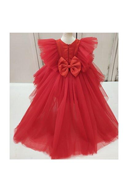 forkids tekstil ve giyim Kırmızı Önü Kısa Arka Uzun Kollar Tül Detaylı