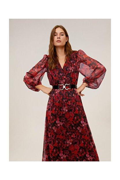 Mango Kadın Kırmızı Çiçekli Midi Boy Elbise 67060605