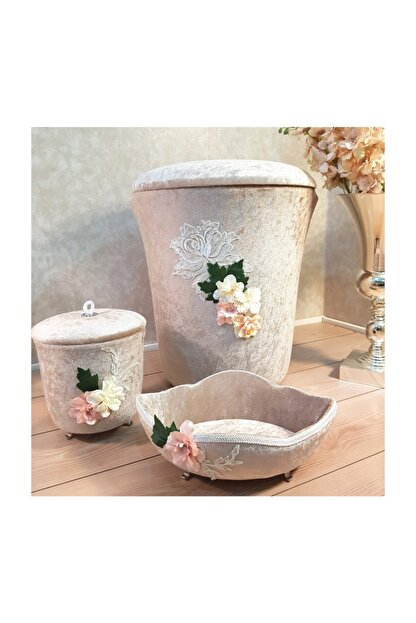 La Perry 3 Prç Banyo Seti, Kadife Kirli Çamaşır Sepeti,çöp Kutusu Ve Havluluk