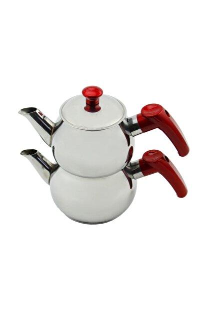 Papatyam Çelik Papatya Midi Boy Çelik Çaydanlık Takımı - Kırmızı