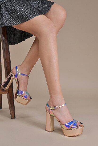 Vizon Ayakkabı Kadın  Bakır Klasik Topuklu Ayakkabı VZN20-044Y