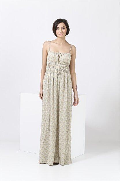 Missoni Askılı , Altın Desenli , Maxi Elbise
