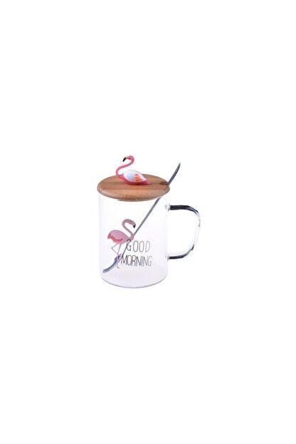 Drc Sevgiliye Hediye Bambu Kapaklı, Flamingo Figürlü Cam Kupa Bardak
