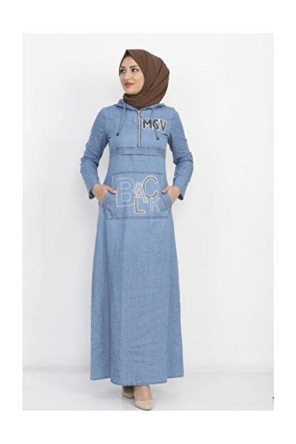 Modamihram Kadın Açık Mavi Yazı Nakışlı Tesettür Elbise