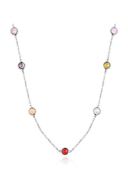 Chavin Tiffany Sıra Taşlı 93 cm Uzun Zincir Gümüş Kolye db71
