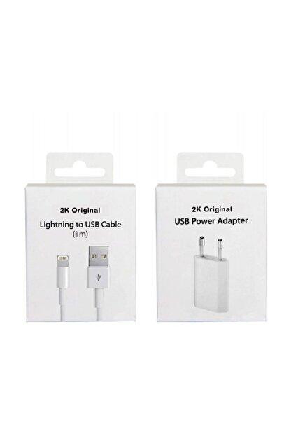 2K Original Apple Iphone Uyumlu Şarj Cihazı Ve Kablo Set